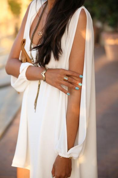 Sexy V-Neck Plain Loose A-Line Cut Out Shoulder Long Sleeve Mini Dress