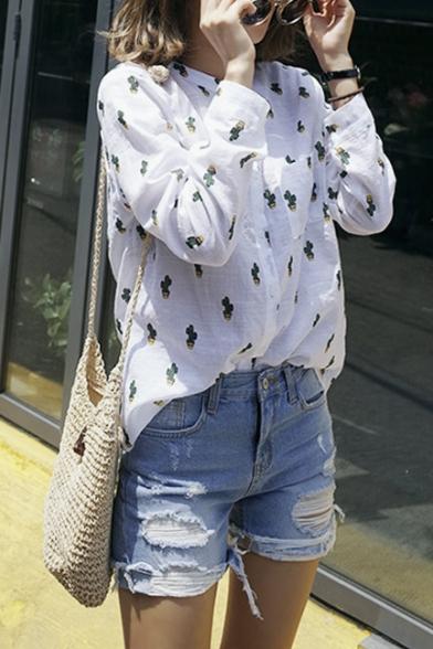 708f7f1b ... Fashion Women Basic Button Downs Cactus Print Pocket Shirt ...