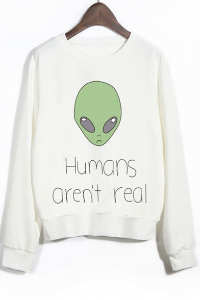 Long Sleeves Graphic Alien Print Crew Neck Sweatshirt Owqx5