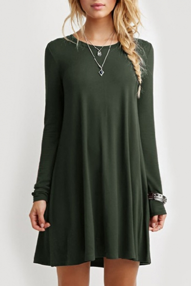 Round Neck Long Sleeve A-Line Loose Midi Dress