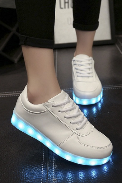 Chic LED Shoes USB Charging Flat Heel Comfort Round Toe Fashion Sneakers