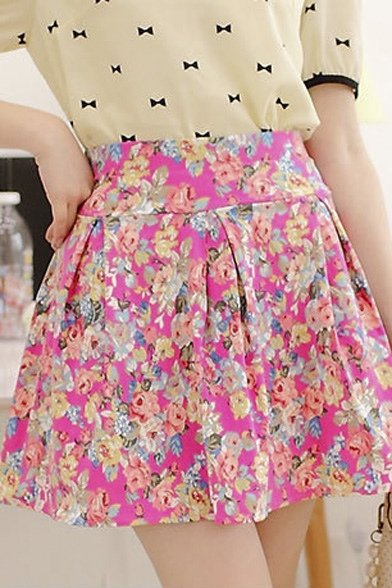 Fashion Women A-line Floral Inverted Pleated Skirt
