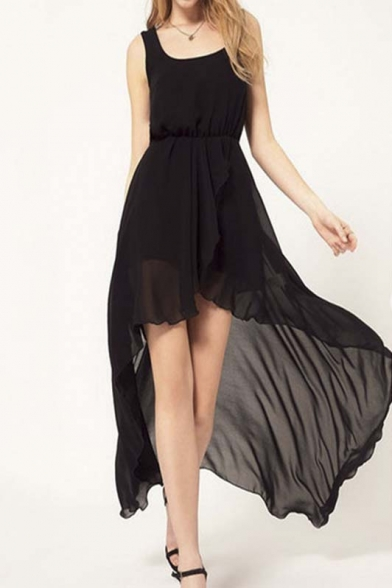 Square Neck Sleeveless Chiffon Sexy Ruffle Asymmetrical