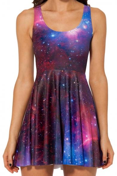 Purple Galaxy Print A-line Tank Dress
