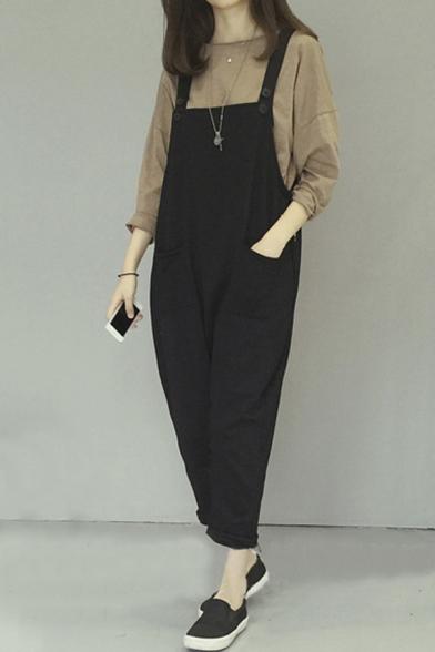 2d39e2eac05 Straps Plain Cute Casual Jumpsuits - Beautifulhalo.com
