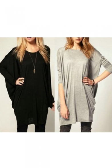 Fit Tunic Top Loose Long Women's Sleeve 6R5wFI