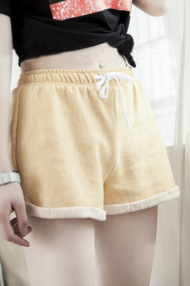 Fashion Women Drawstring Snow Sports Cuffed Wide Leg Shorts