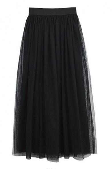 Fashion Women Elastic Waist Mesh Layered Ankle-length Skirt