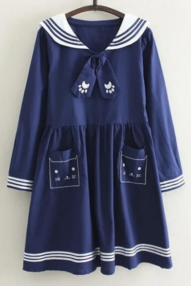 Cute Long Sleeve Striped Trim Pocket Cat Print Loose Dress