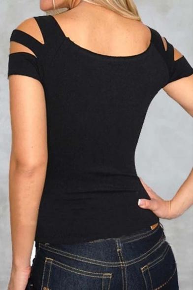 Hot Sexy Round Neck Cut Out Front Cut Out Shoulder Slim Fit Plain T-Shirt