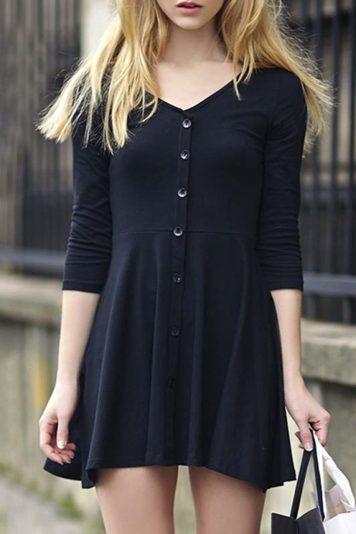 Simple Fashion V-Neck Half Sleeve Button Through A-Line Mini Dress