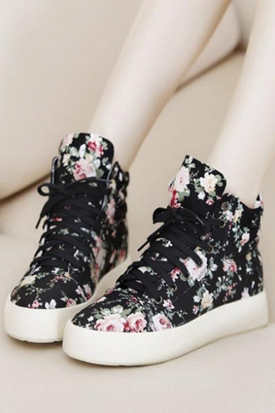 Colorful Flower Pattern Canvas Flat Shoes