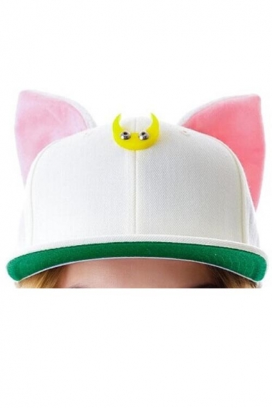 ... Kawaii Cute Cat Ears Embellish at Ears Outdoor Leisure Fashion Summer Baseball  Caps Women Outdoor Caps ... f0fd169ba56e