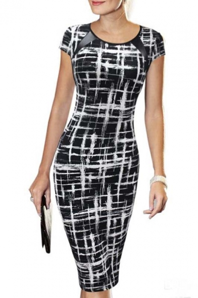 Retailers usa Crew Neck Patchwork Short Sleeve Bodycon Dresses crew near