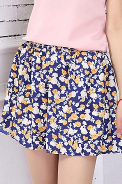 Fashion A-line Floral Print Gathered Waist Mini Skirt