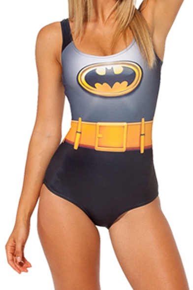 Batman Logo Print Scoop Neck One Piece Swimsuit