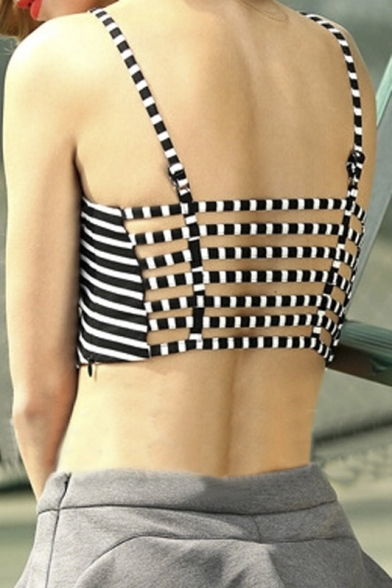 Backless Spaghetti Cami Top Strap Striped Y8q7R8
