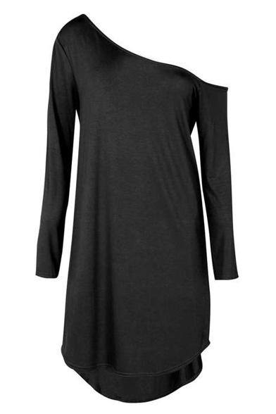 One Shoulder Sexy High Low Hem Plain Midi Dress