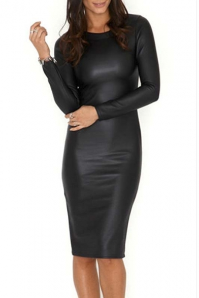 0c91ba313c49 Hot Round Neck Long Sleeve Sexy PU Leather Bodycon Midi Dress -  Beautifulhalo.com