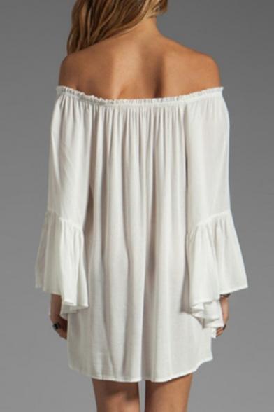 Women's Sexy Off Shoulder Chiffon Boho Ruffle Sleeve Blouse Mini Dress