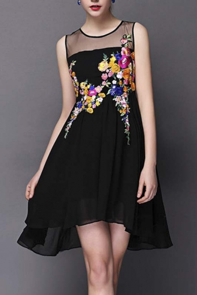 0944ac47558 Tulle Sheer Neck Sleeveless High Low Hem Flower Embroidery A-Line Mini Dress