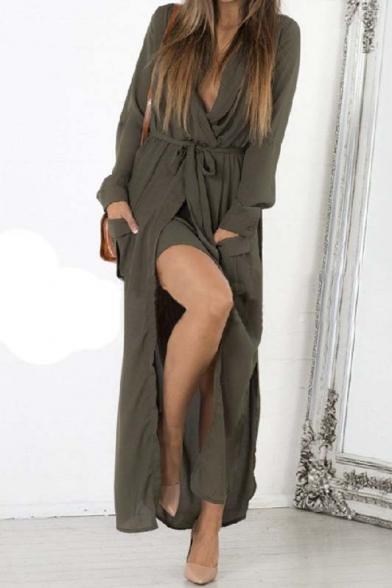 Chic V-Neck Turn Up Sleeve Split Hem Pocket Ribbon Embellish Icon Maxi Dress