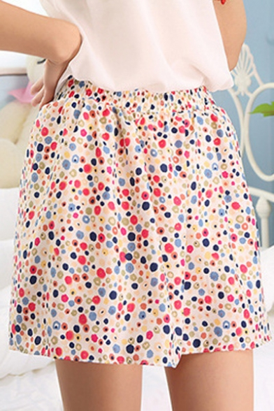 Fashion A-line Ditsy/Polka Dot Print Gathered Waist Mini Skirt