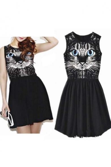 Chic Cat Print Sleeveless A-Line Mnin Icon Dress