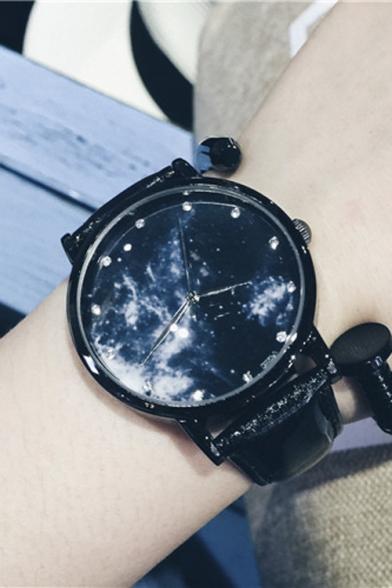 Galaxy Pattern Leather Quartz Watch