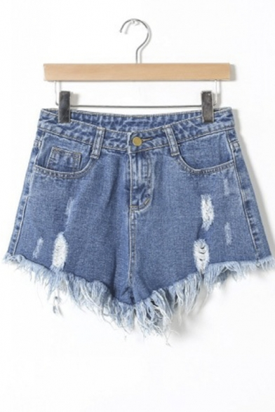 Fashion Women Distressed Frayed Hem Denim Hot Pants Shorts