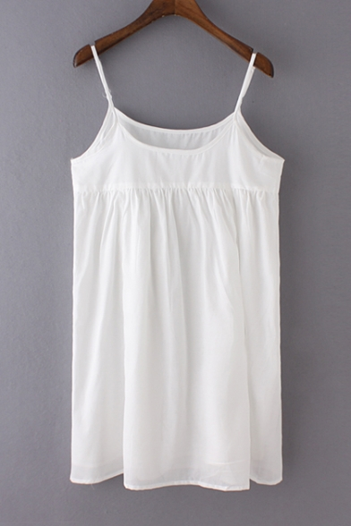 eae977deb86 Spaghetti Strap Plain Loose Linen Shift Dress - Beautifulhalo.com