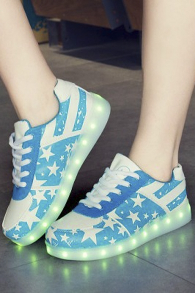Colorful Popular LED Shoes USB Charging Flat Heel Comfort Round Toe Fashion Sneakers