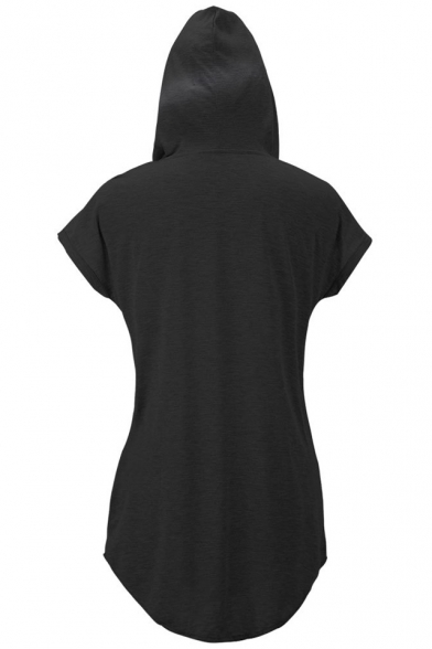 Hooded Short Sleeve Loose Pockets Mini T-Shirt Dress