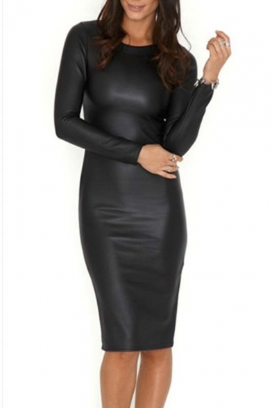 Hot Round Neck Long Sleeve Sexy PU/Leather Bodycon Midi Dress
