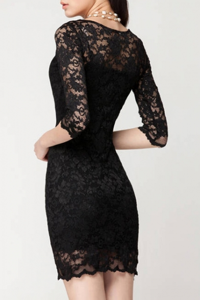 Short Dress Sleeve Cocktail 4 Lace 3 qXAE0W