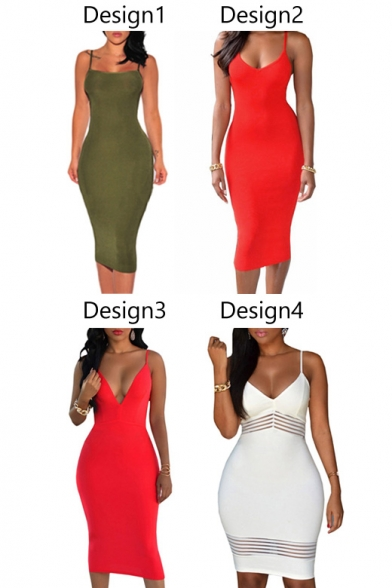 Women's Backless Spaghetti Strap Bodycon Package Hip Dress