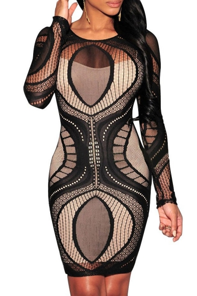 Womens Lace Nude Illusion See Through Long Sleeve Bodycon -9012