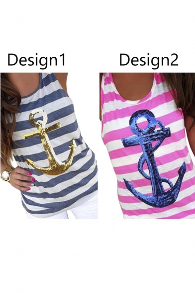 Tank Beach Racerback Women's Top Sequins Striped Anchor Sleeveless YXxwwPqSB