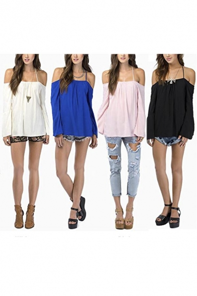 65e87905975390 ... Womens Halter Backless Cross Straps Loose Off Shoulder Shirt Blouse Top  ...