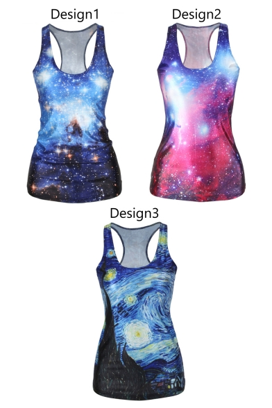 Galaxy&Oil Painting Print Tanks