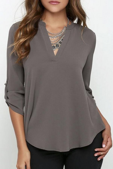 Womens V Neck Blouses Solid Loose Casual Cuffed Sleeve Shirt Top