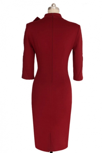 Women's 1950s Retro 3/4 Sleeve Bow Cocktail Party Evening Dress Work Pencil Dress