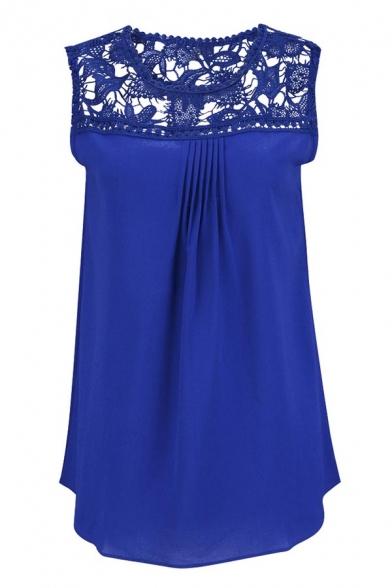 Women's Sleeveless Hollow Out Chiffon Plus Size Lace Crochet Top Shirt