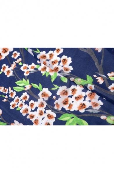 Women Flowy Sheer Crop Sleeves Loose Chiffon Kimono Cardigan Blouse Top