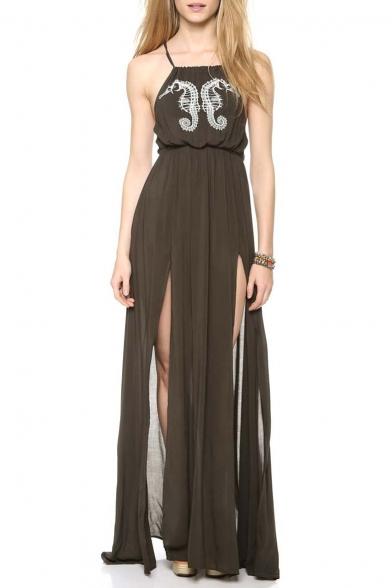 Elegant Split Front Criss Cross Back Maxi Dress