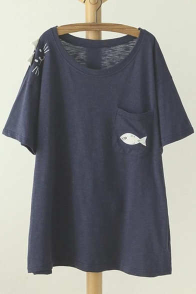Round Neck Short Sleeve Comfortable Style Graphic Cat&Fish Print Tee&Top