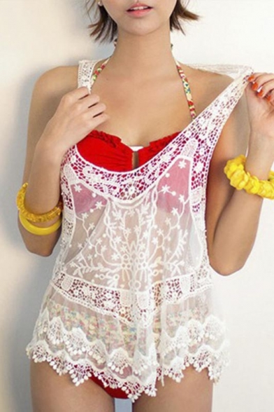c482aec3e Women's Floral Sleeveless Vintage Crochet Knit Lace Vest Tank Top Shirt ...