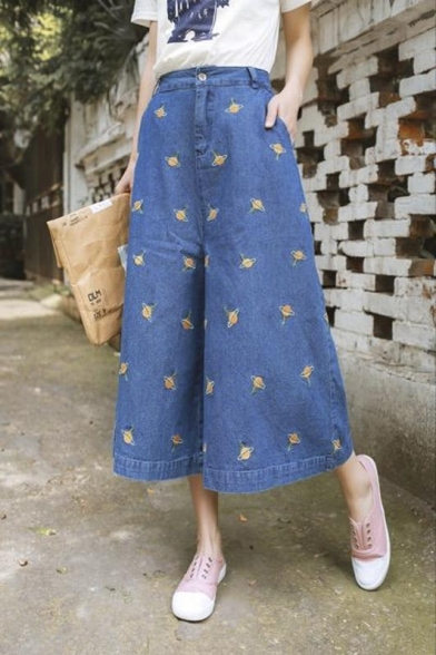 eca78604 2016 New Fashion High Waist Single Button Denim Wide Leg Icon Pants Jean ...