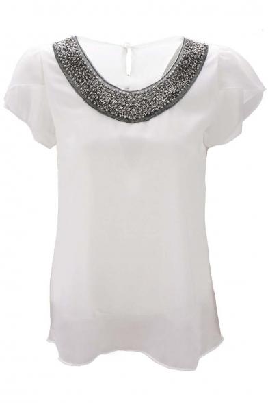 Women Casual Short Sleeve Slim Batwing Chiffon T-shirts Elegant Tops Blouse