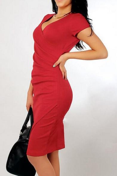 Womens Deep V-Neck Asymmetrical Fold Sheath Dress